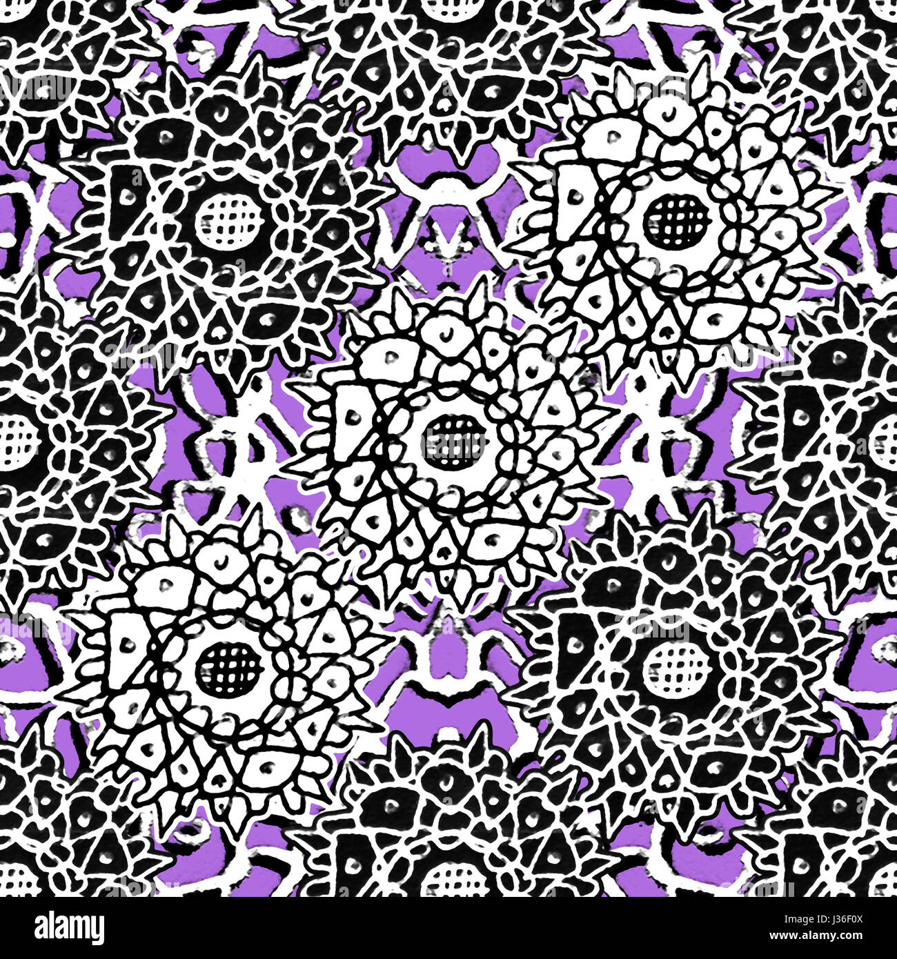 Mixed media collage technique stars motif hand draw graphic ornate seamless pattern design in violet, black and Stock Photo