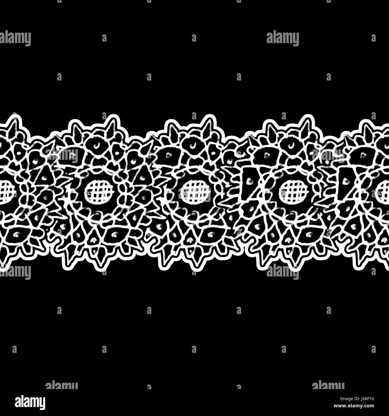 Mixed media technique stars motif hand draw graphic stripe ornate design in black and white colors Stock Photo