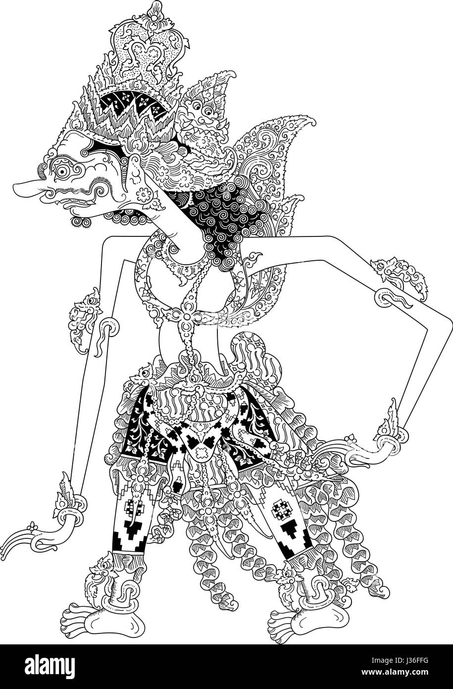 Darmawasesa, a character of traditional puppet show, wayang kulit from java indonesia. - Stock Image