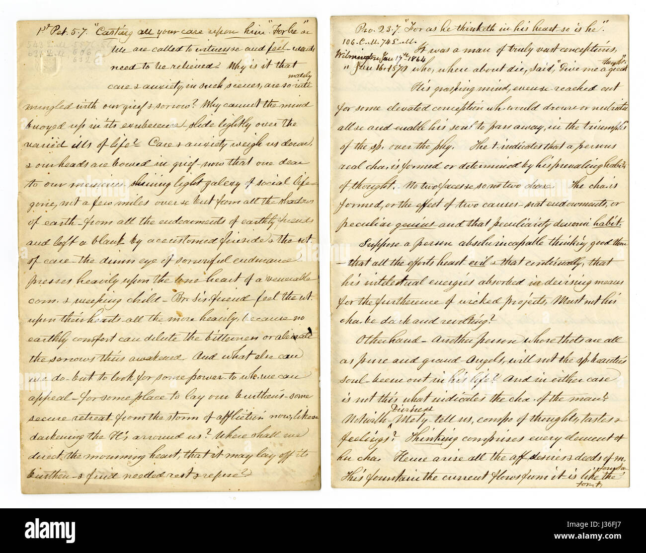 Antique c1860 hand written sermon from a traveling preacher. The one on the left draws from 1 Peter 5:7 'Casting - Stock Image