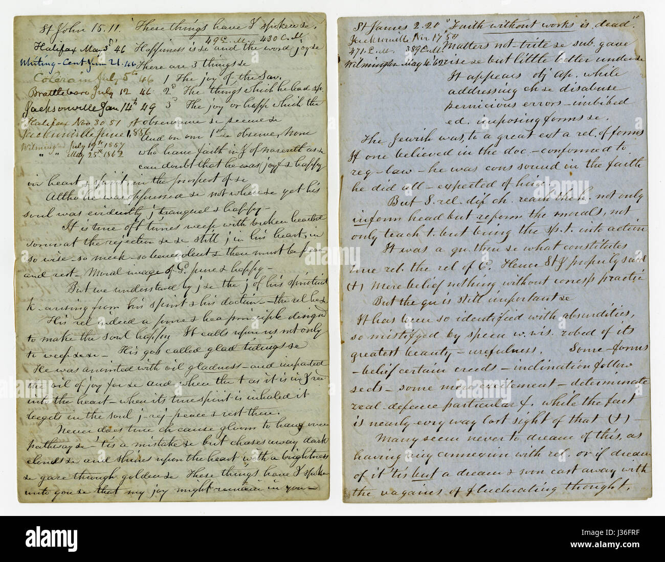 Antique c1860 hand written sermon from a traveling preacher. The one on the left draws from John 15:11 'These - Stock Image