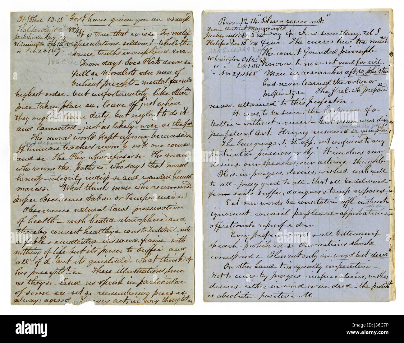 """Antique c1860 hand written sermon from a traveling preacher. The one on the left draws from John 13:15 """"For I have Stock Photo"""