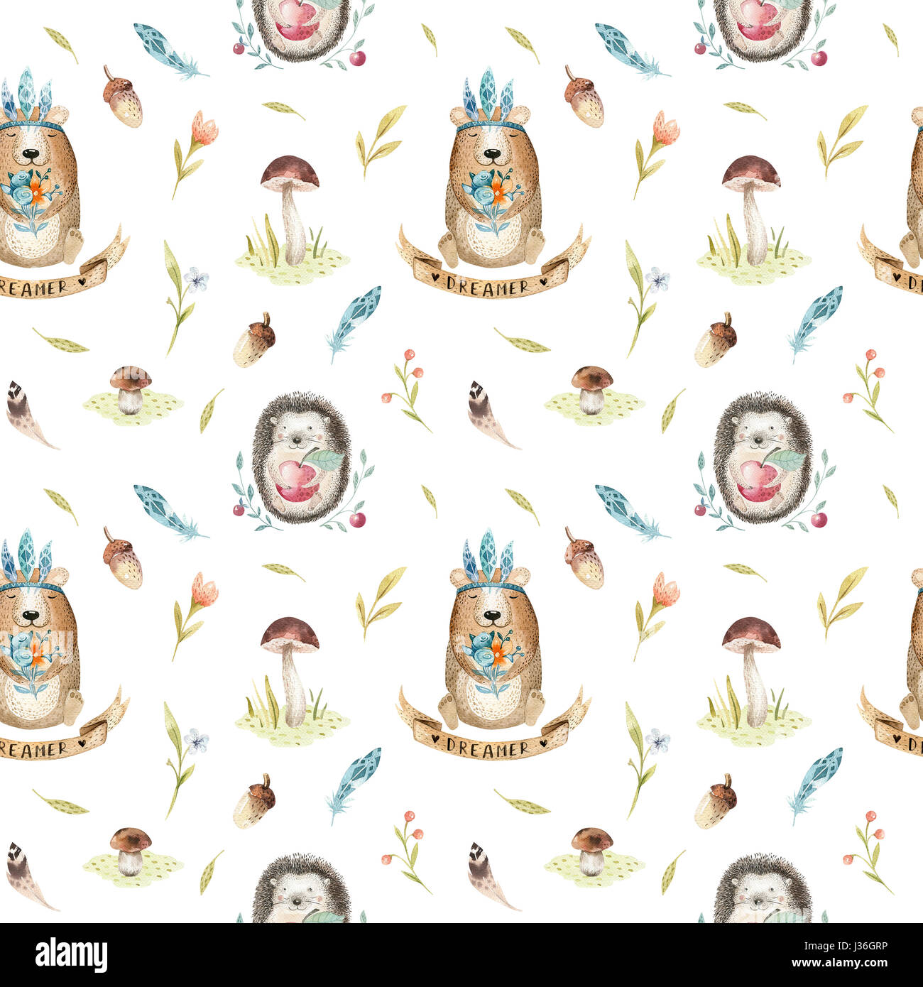 Cute baby hedgehog  and bear animal seamless pattern for kinderg - Stock Image