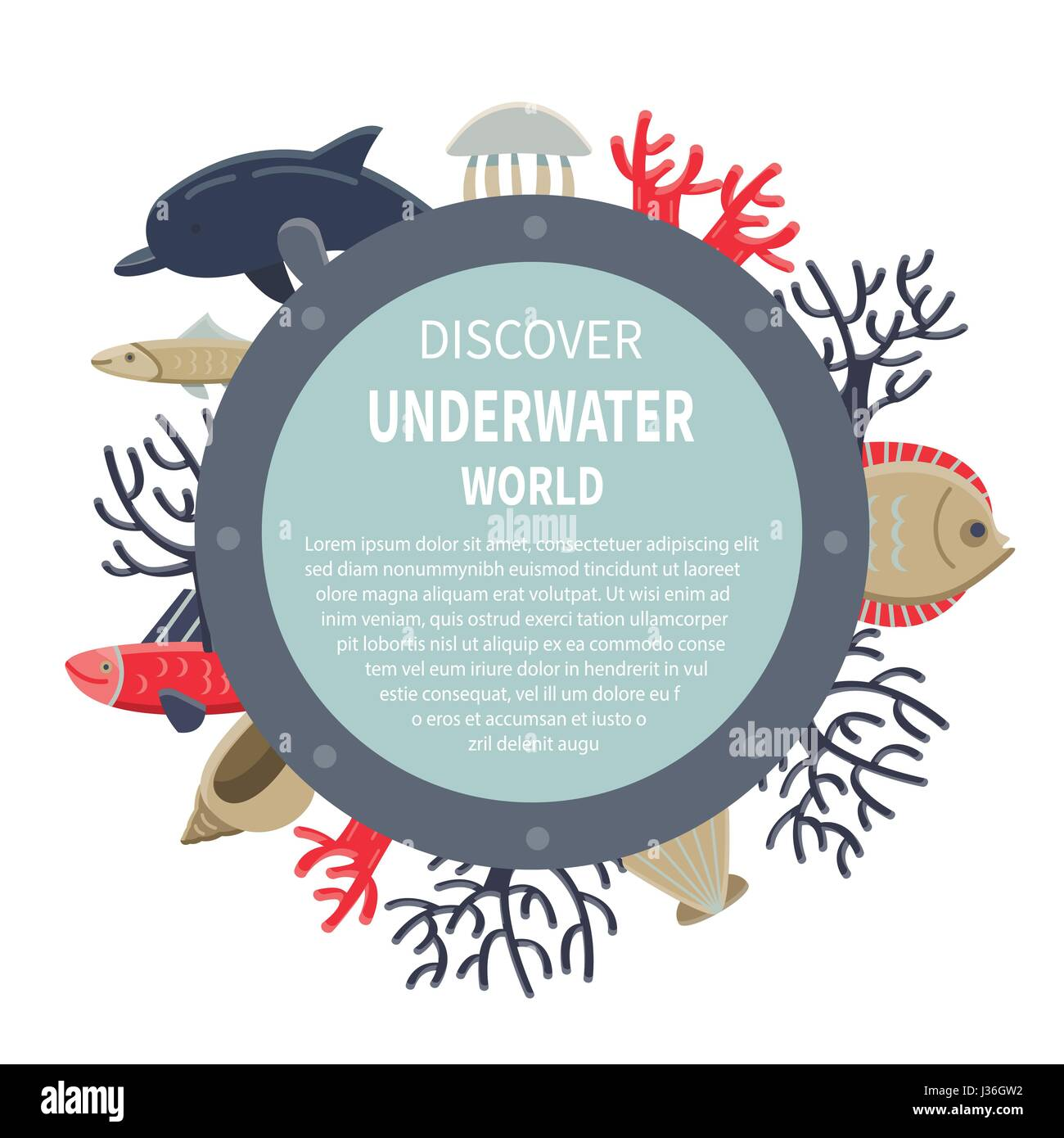 Marine Life Card. Easily grouped and editable elements - Stock Image