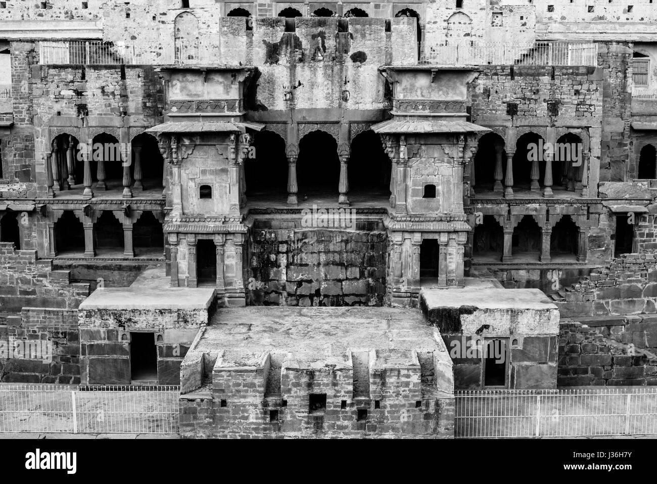 Chand Baori stepwell, Abhaneri, at Jaipur, Rajasthan - Stock Image