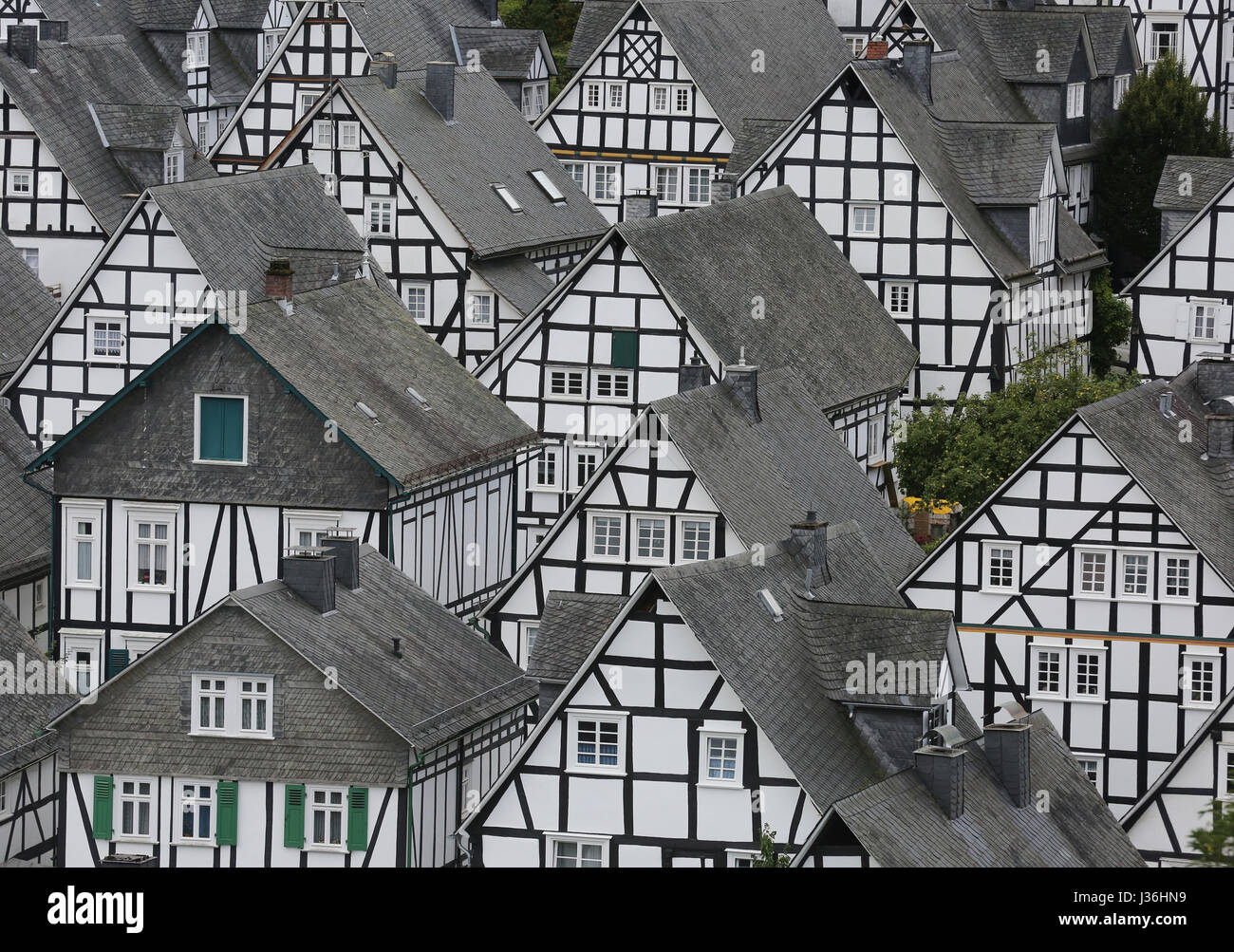 Germany, Wood Frame House in the city of Freudenberg, Siegerland, Northrhine-Westfalia - Stock Image