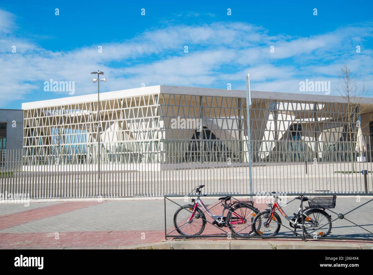 Facade of German School. Madrid, Spain. - Stock Image
