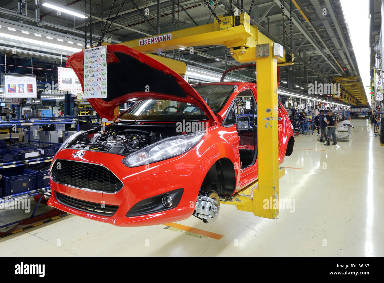 Production of a Ford FIESTA on the assembly line. Ford plant in  Cologne, Germany - Stock Image