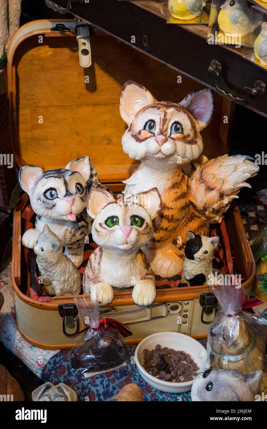 Chocolate cat creations in the Choccywoccydoodah shop in Soho, London, England, United Kingdom - Stock Image