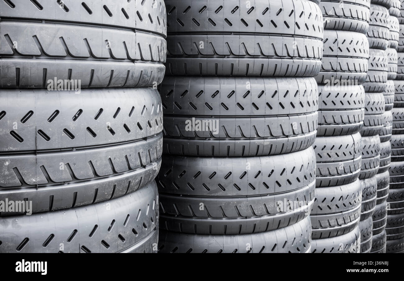 New car tyres at proffesional European Rally - Stock Image