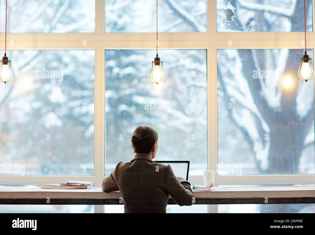 Working in Cafe with Picturesque View - Stock Image