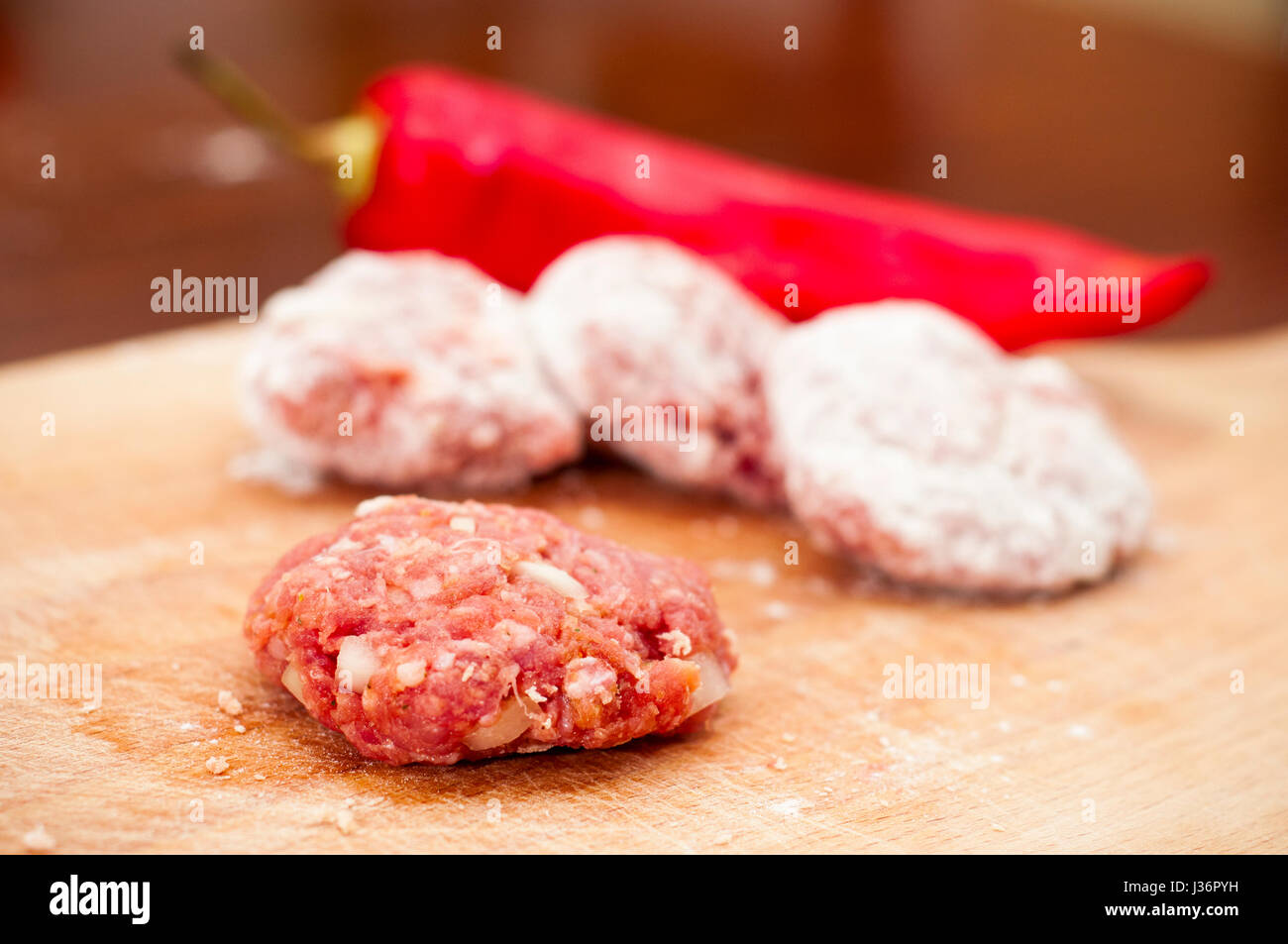 meatballs and red pepper - Stock Image