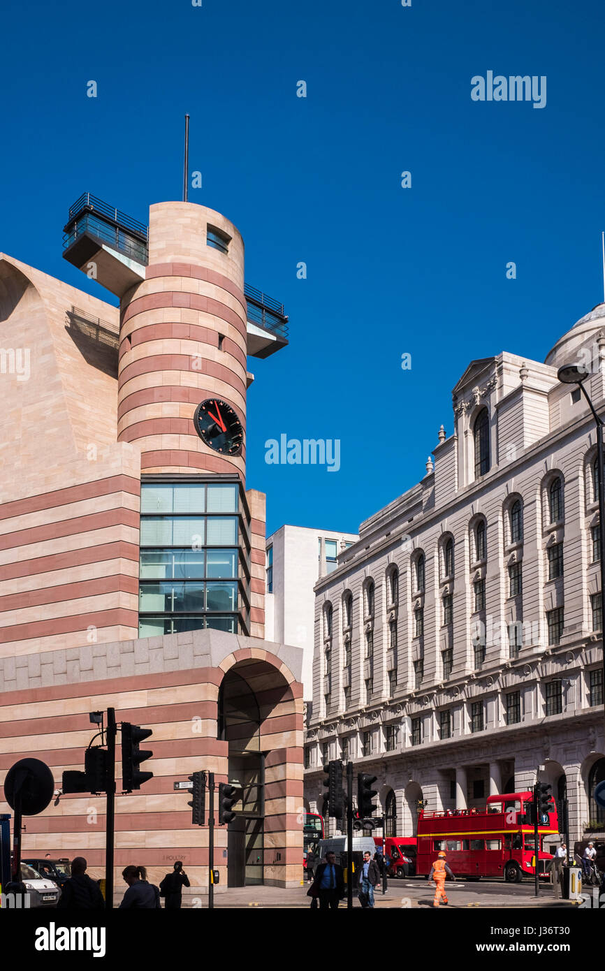 1 Poultry commercial building & The Ned 5 star hotel(former Midland Bank building) close to the Bank of England, - Stock Image
