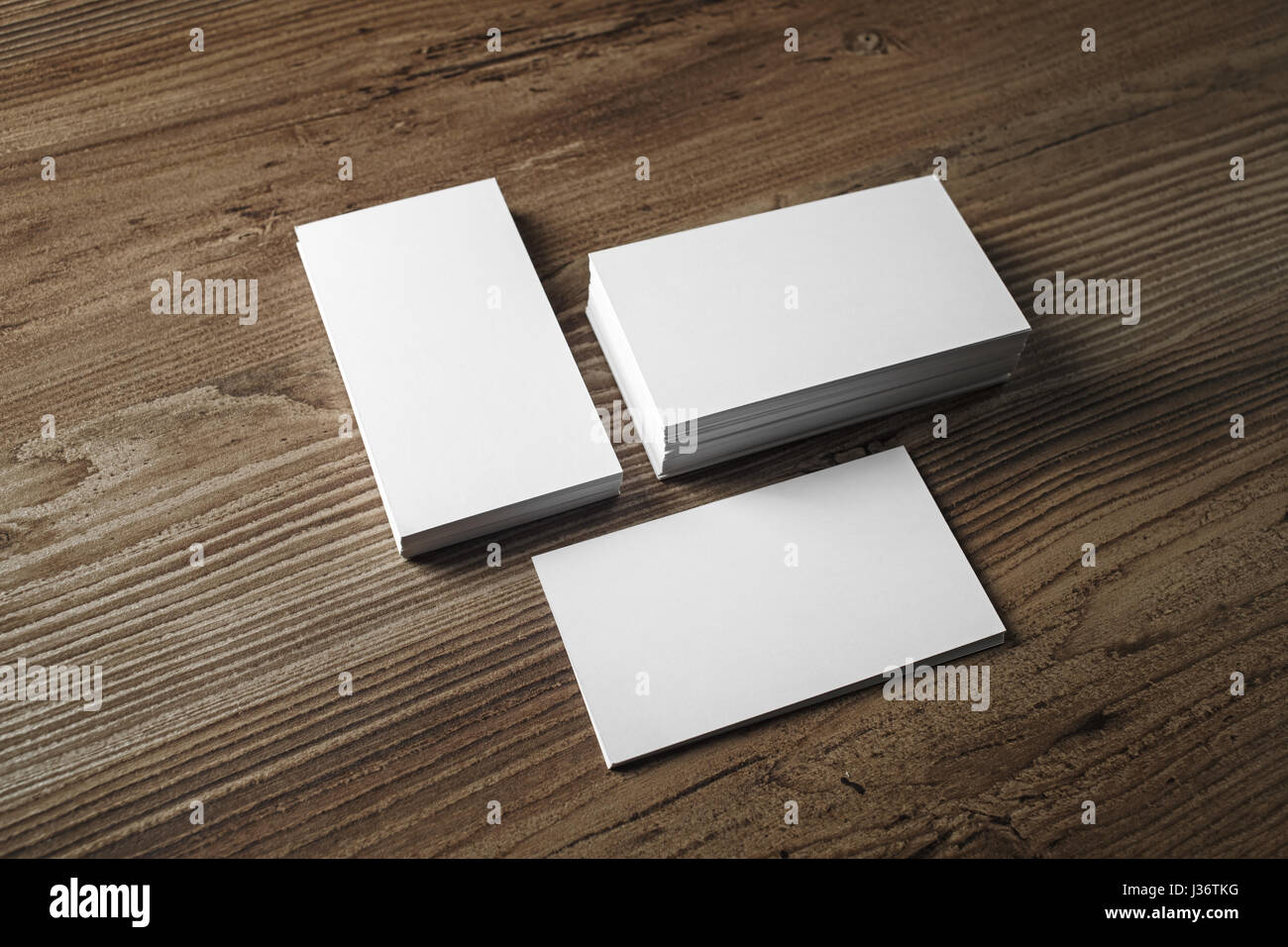 Photo of blank business cards on vintage wood table background. Mock ...