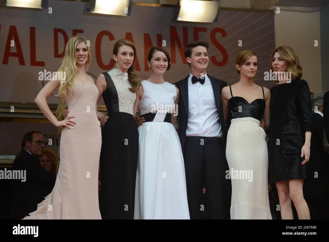 Equipe du film : Claire Julien, Taissa Farmiga, Katie Chang, Israel Broussard, Emma Watson, Sofia Coppola.  66e - Stock Image
