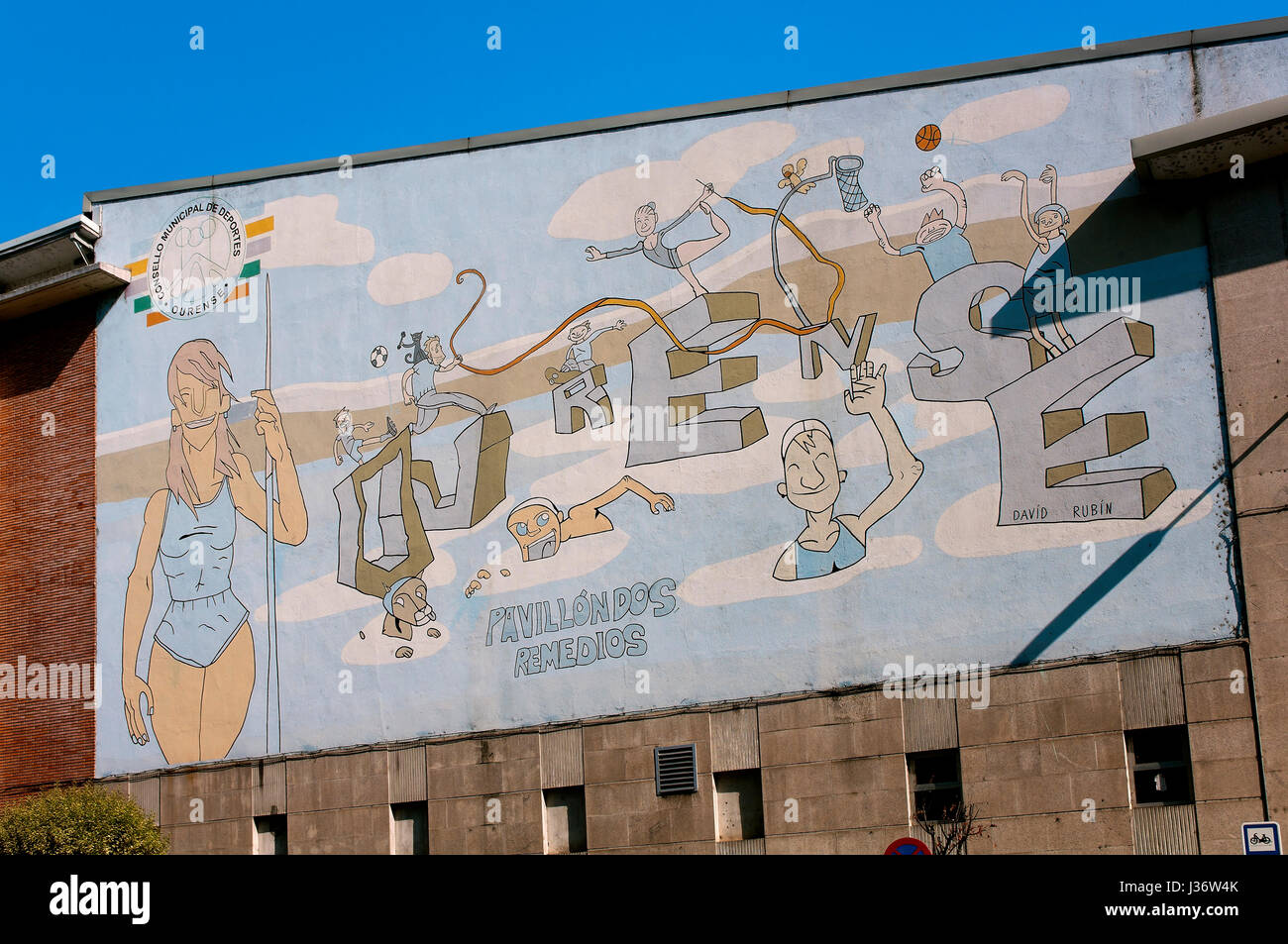 Los Remedios sports pavilion - drawing on the facade, Orense, Region of Galicia, Spain, Europe - Stock Image