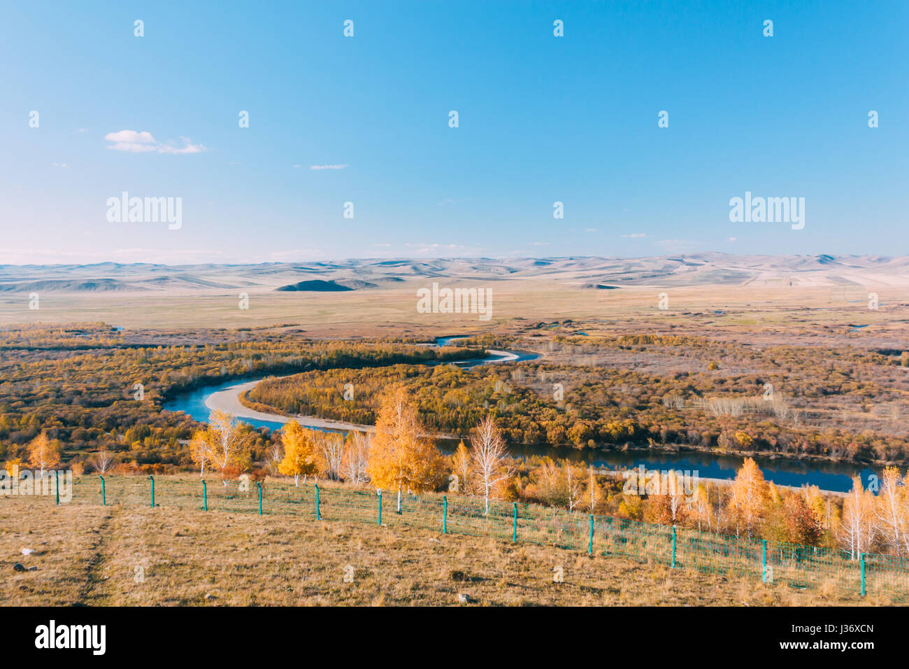 on a moutain of Inner Mongolia Hulun Buir River Genhe Wetland in Eergu'Na,known as 'Asia's first wetlands.', - Stock Image