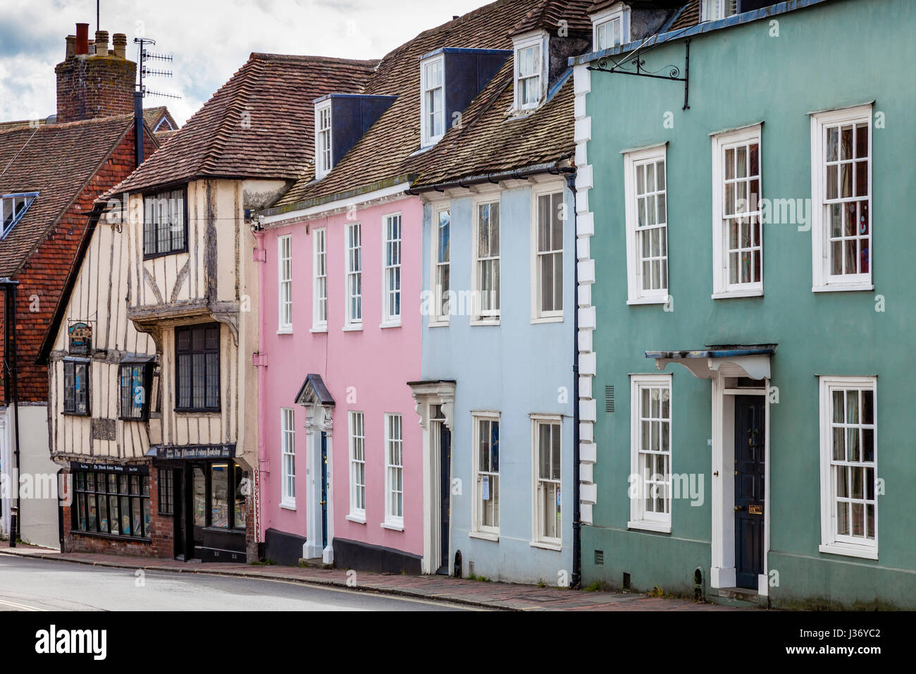 Colourful Houses and The Fifteenth Century Bookshop, High Street, Lewes, Sussex, UK - Stock Image