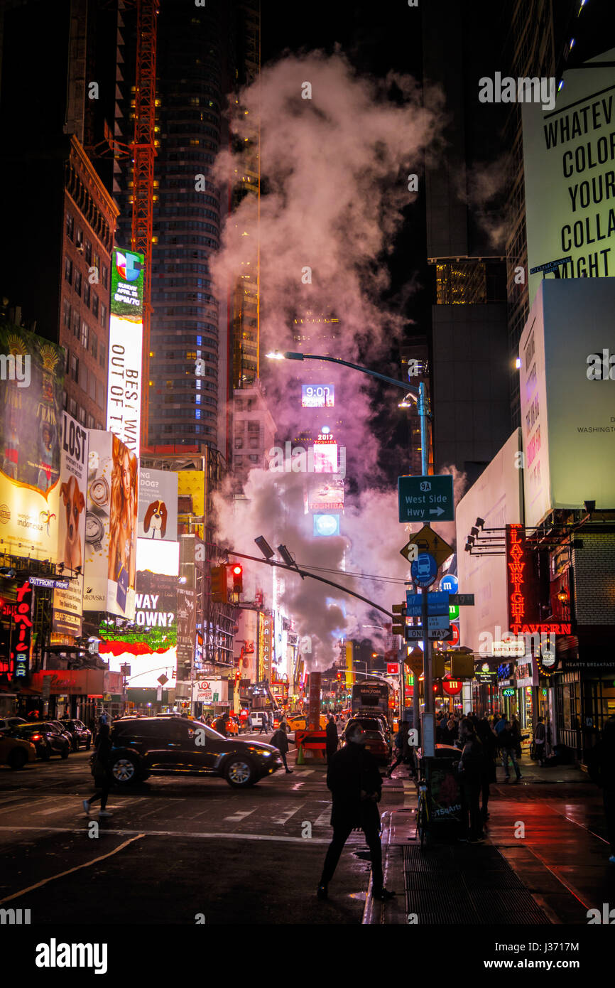 New York Steam Pipes by Night - Stock Image