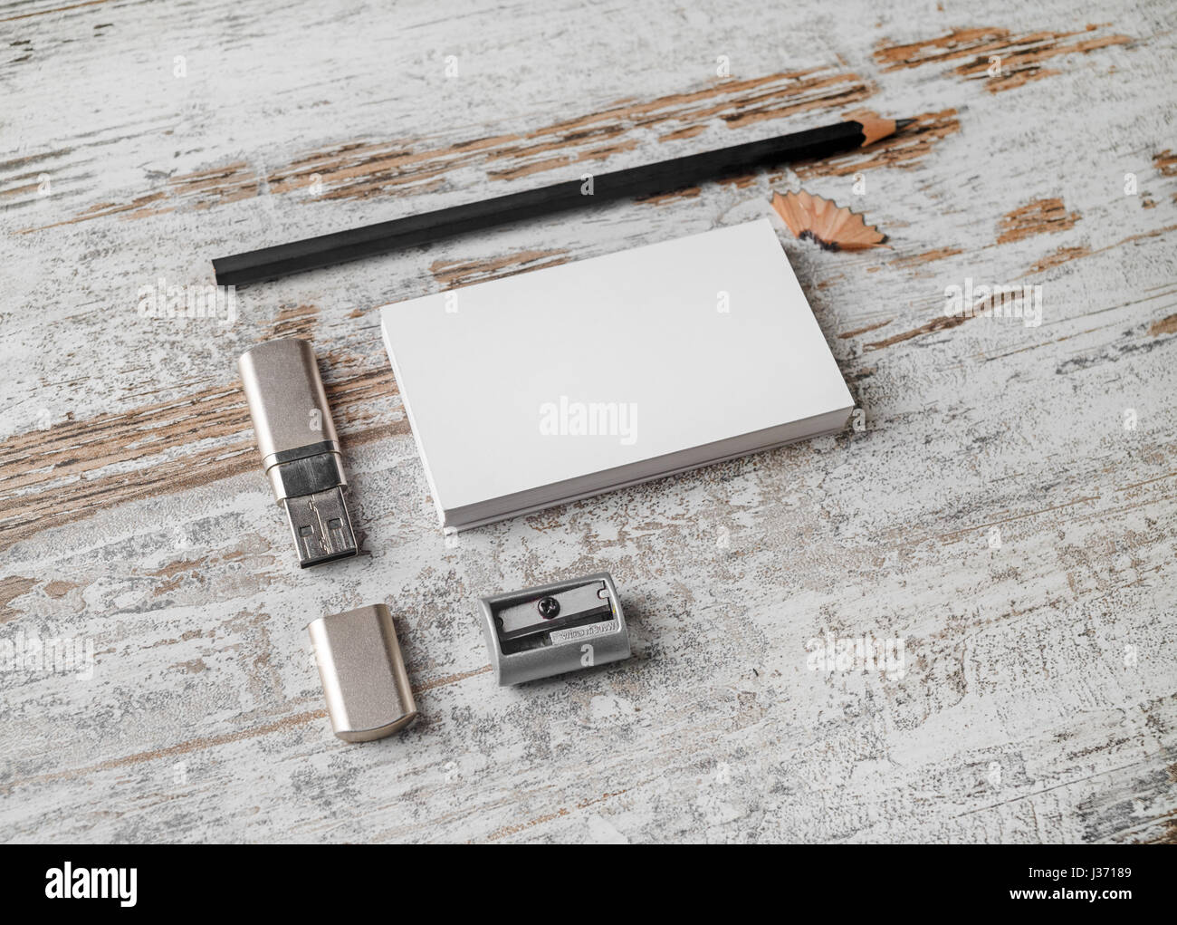 Bank business cards, pencil, flash drive and sharpener. Blank Stock ...