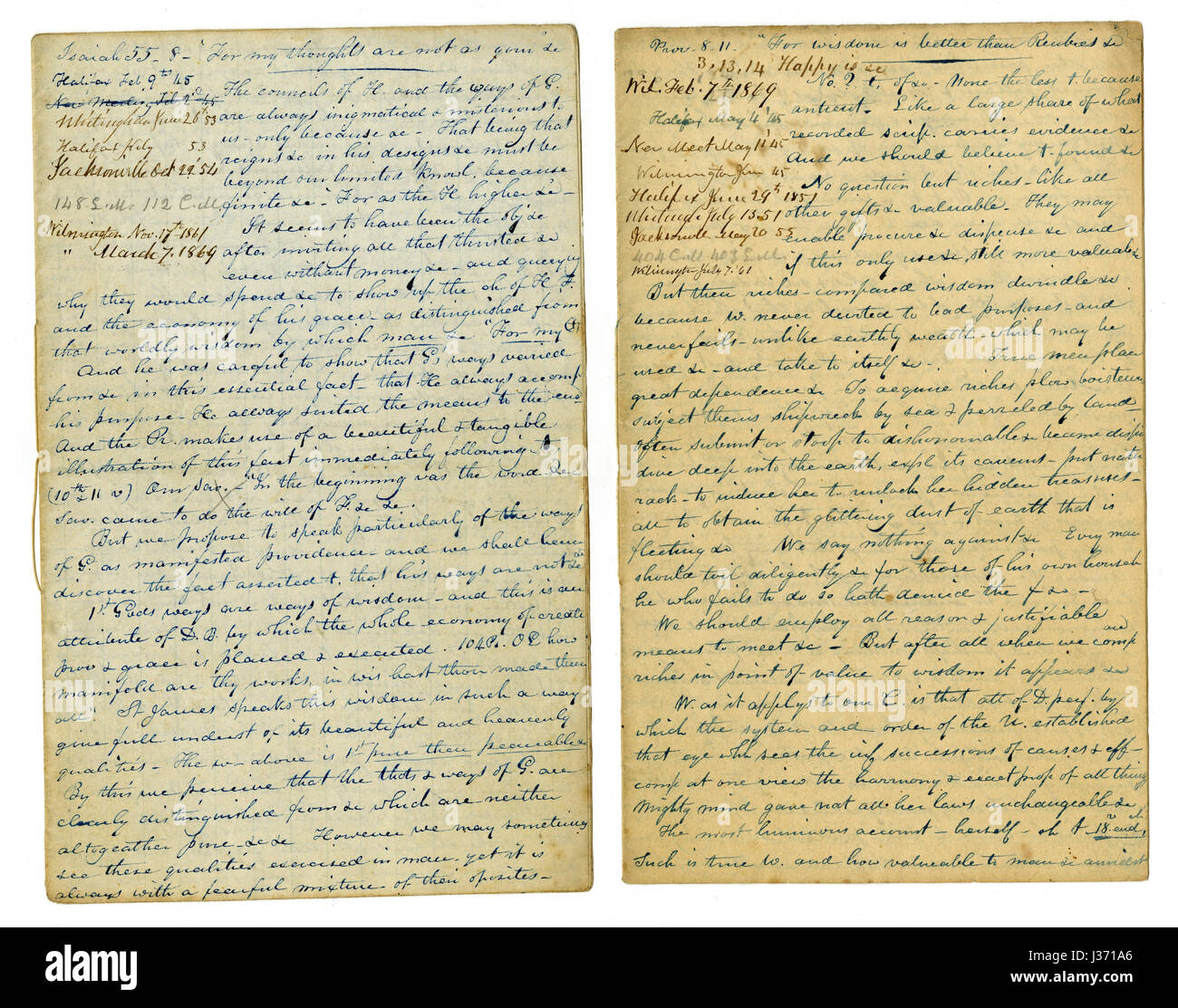 Antique c1860 hand written sermon from a traveling preacher. The one on the left draws from Isaiah 55:8 'For - Stock Image