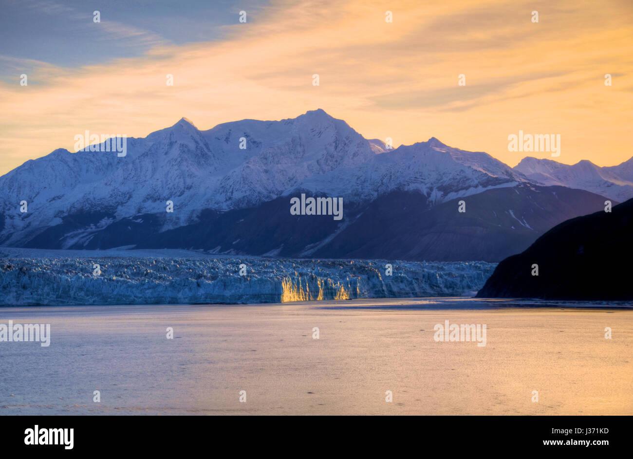 Sunrise at Hubbard Glacier Alaska Stock Photo