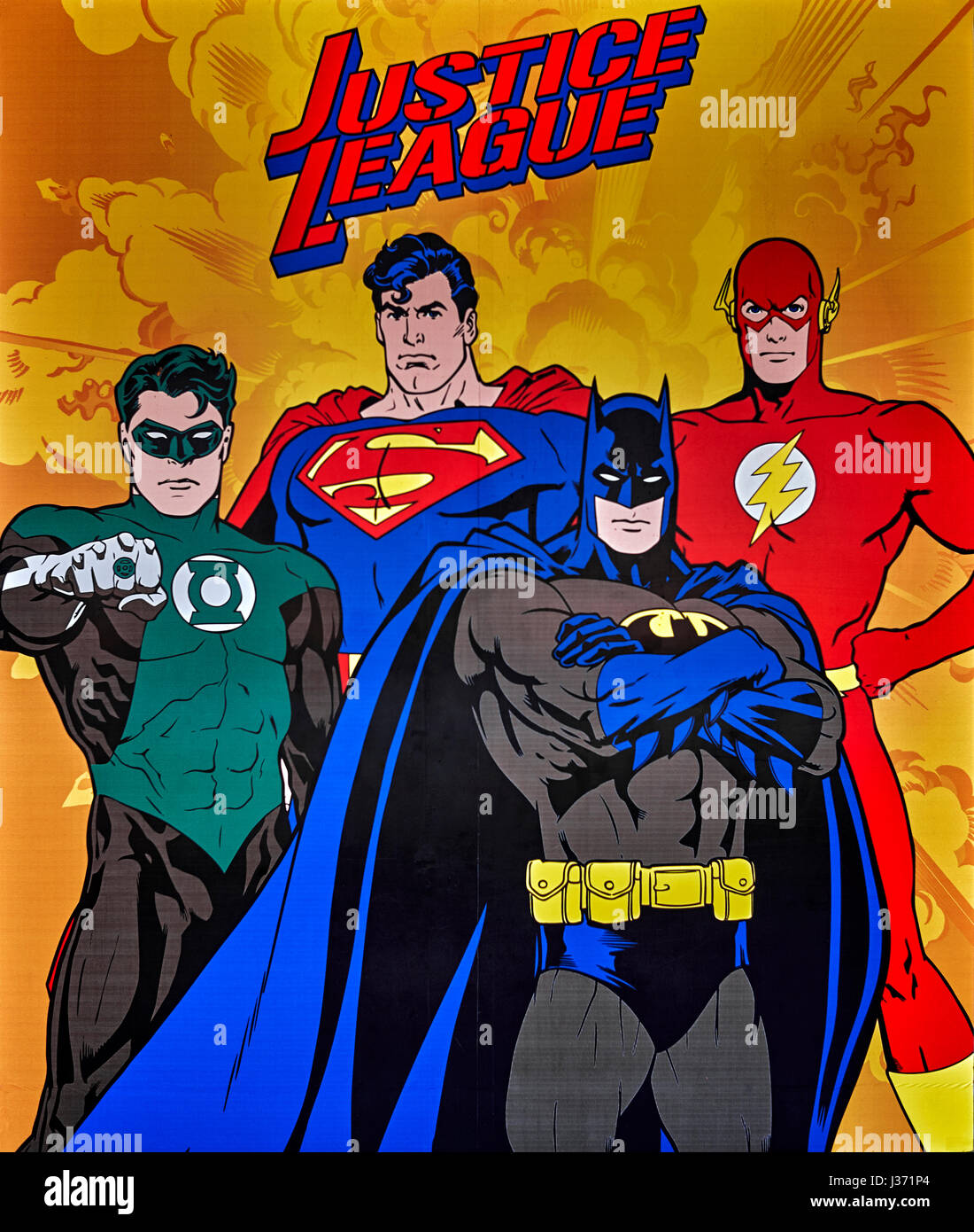 Poster Justice League, Superheroes - Stock Image