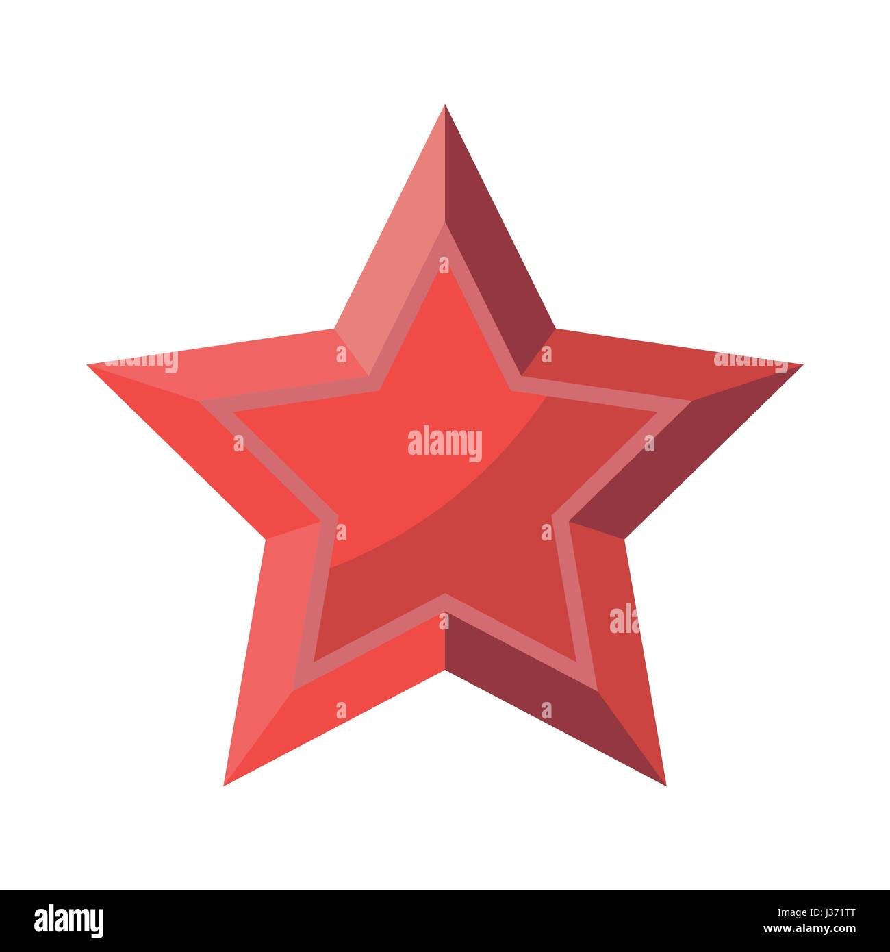 Red Star with shadows isolated on White Background 23 February 9 May. Symbol of victory. - Stock Vector