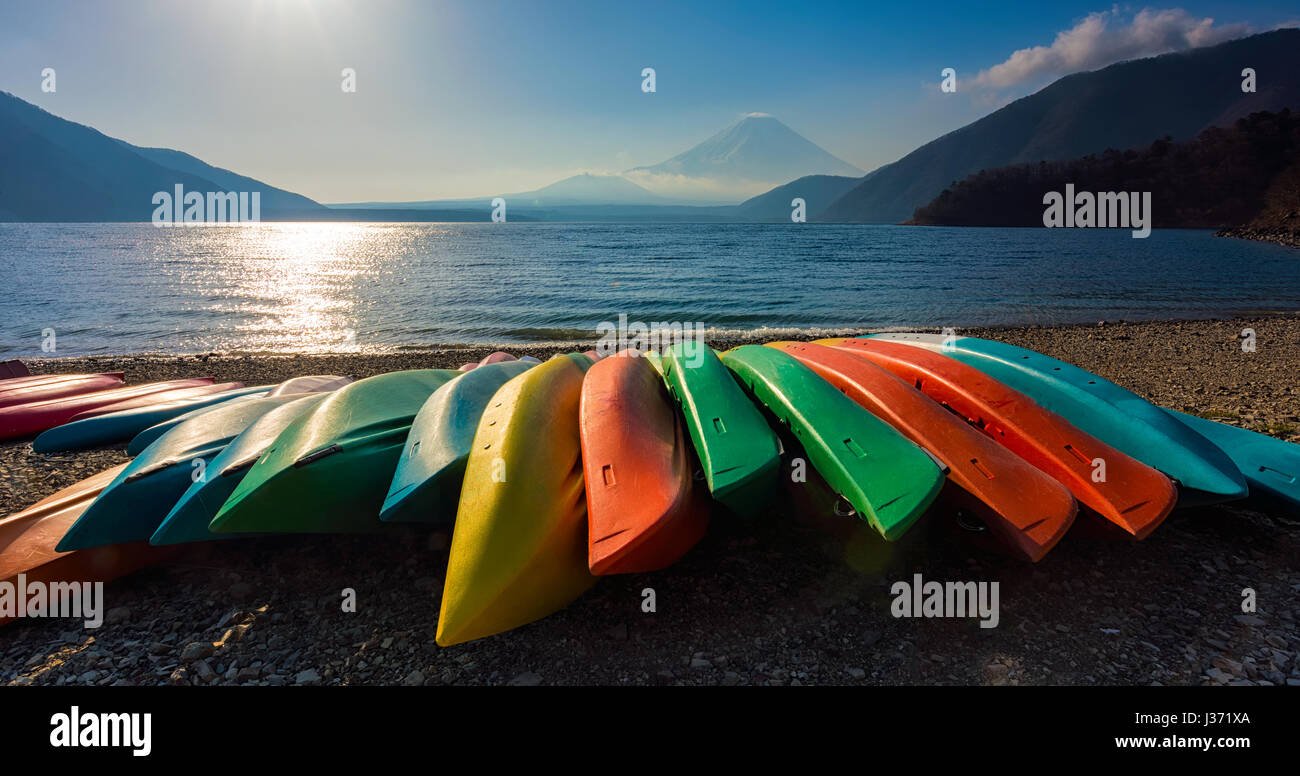 Group of colorful boat with fuji mountain at lake motosu japan - Stock Image