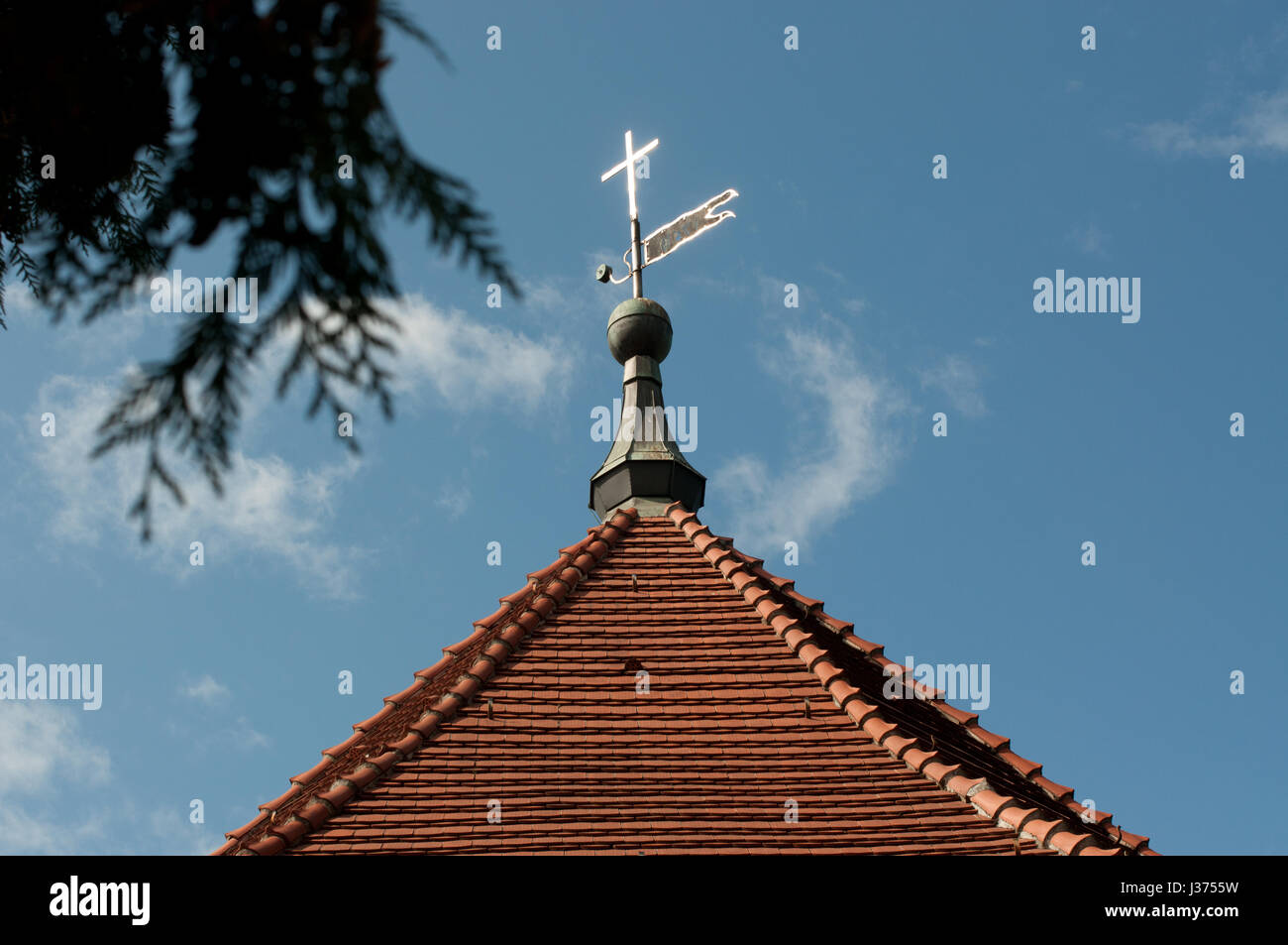 church spire at Stahnsdorfer cemetery, Brandenburg, Germany - Stock Image