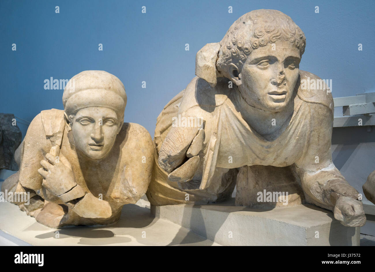 4th century BC statues of a female Lapiths, on the West pediment of the Temple of Zeus. Archaeological  museum, - Stock Image
