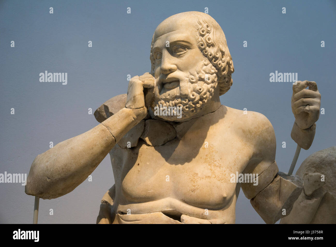 Detail of a 4th cen. bc.  sculpture of a Seer on  the East pediment of the Temple of Zeus. Archaeological  museum, - Stock Image