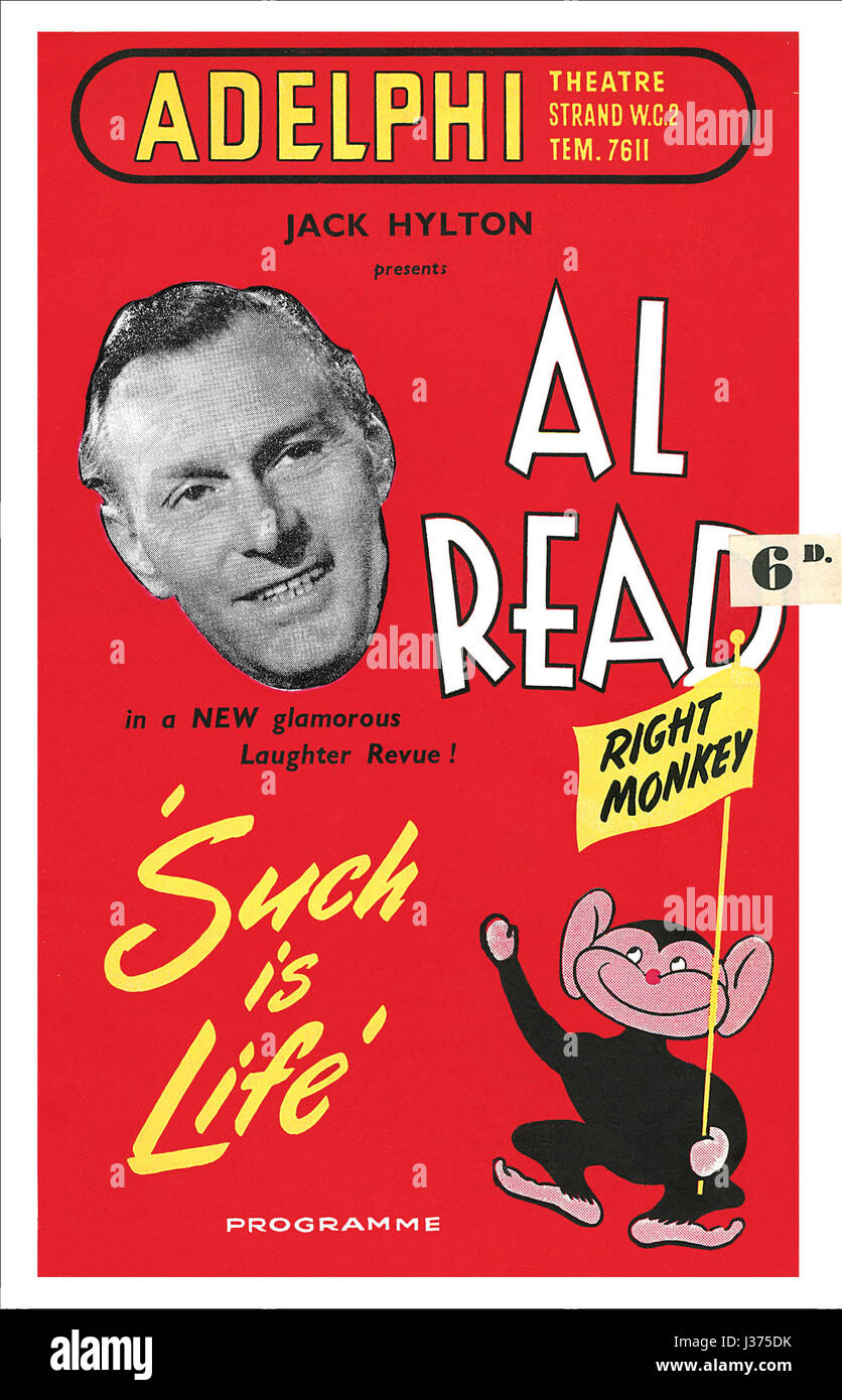 1955 Adelphi Theatre programme for the revue Such Is Life, starring Al Read, Jack Tripp and Shirley Bassey. - Stock Image