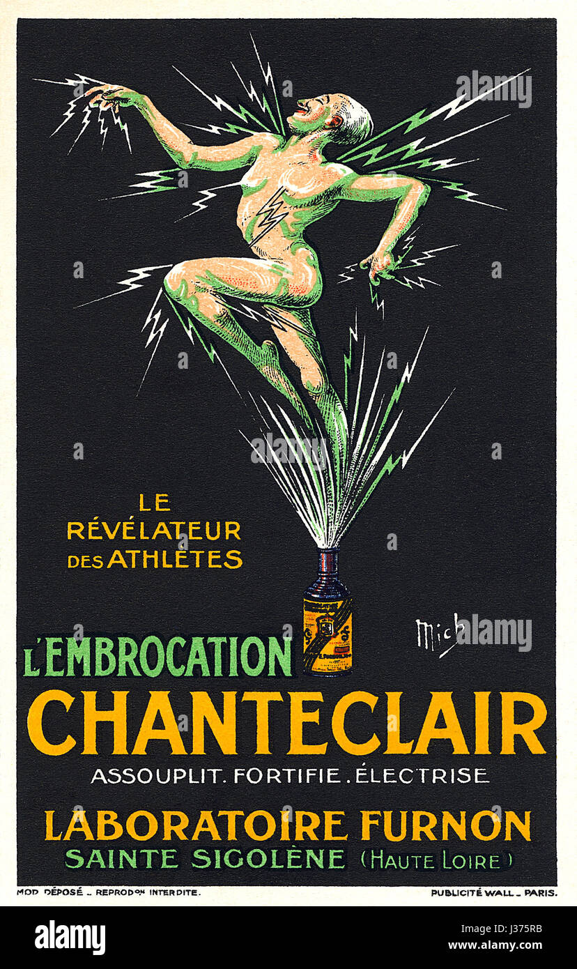 Vintage French postcard advertising Chanteclair Liniment, illustrated by Michel Liebeaux (1881-1923). The postcard - Stock Image