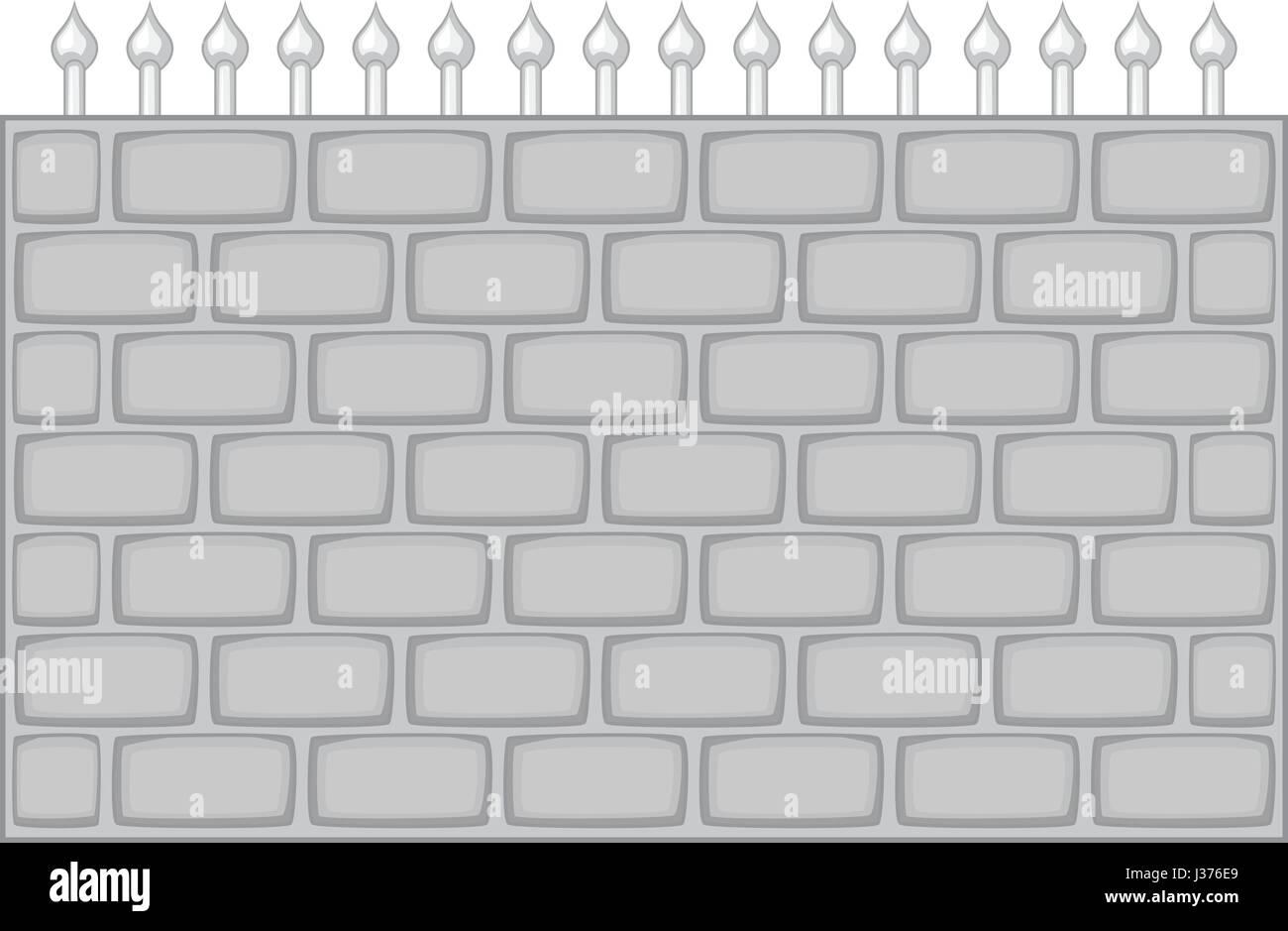 Brick wall fence icon monochrome - Stock Vector