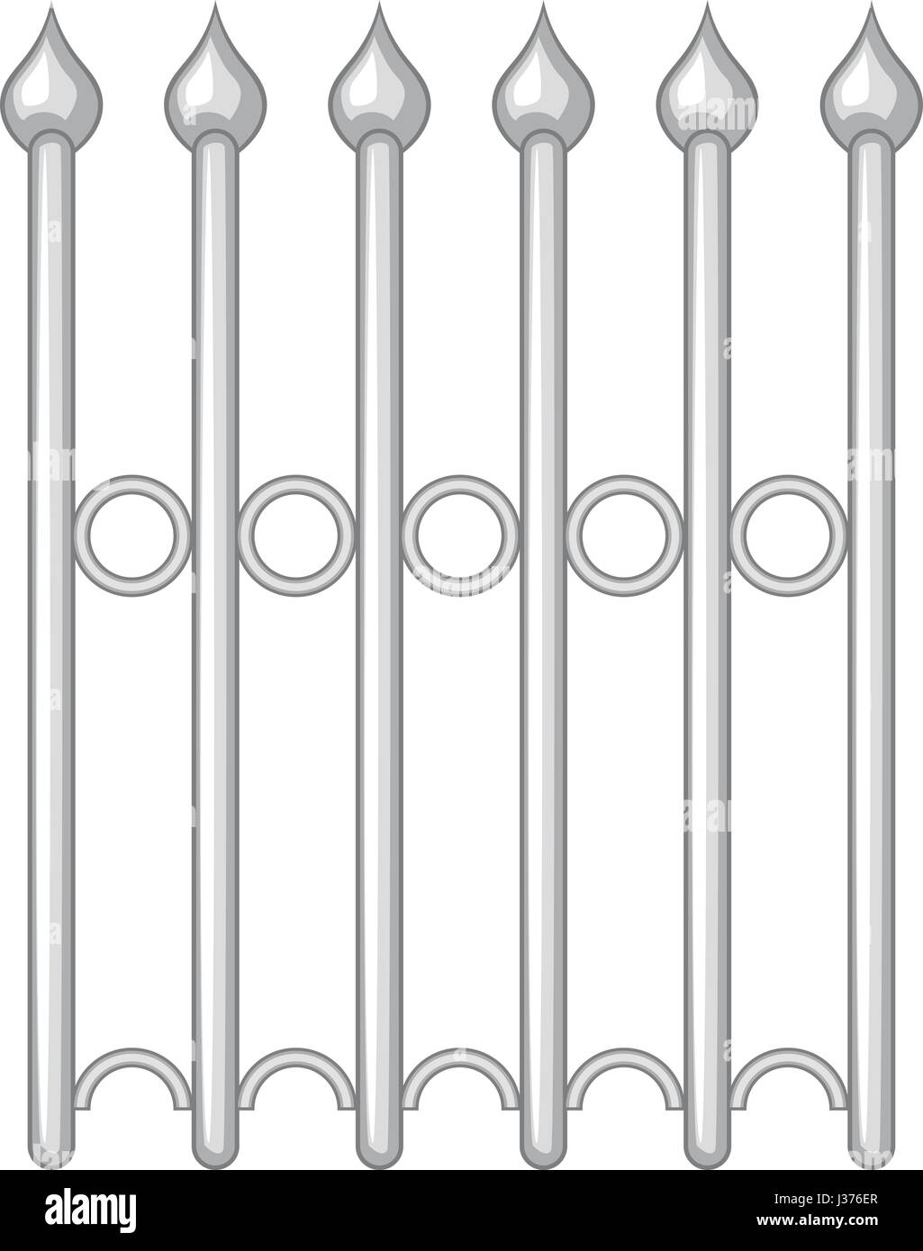 Decorative iron fence icon monochrome - Stock Image