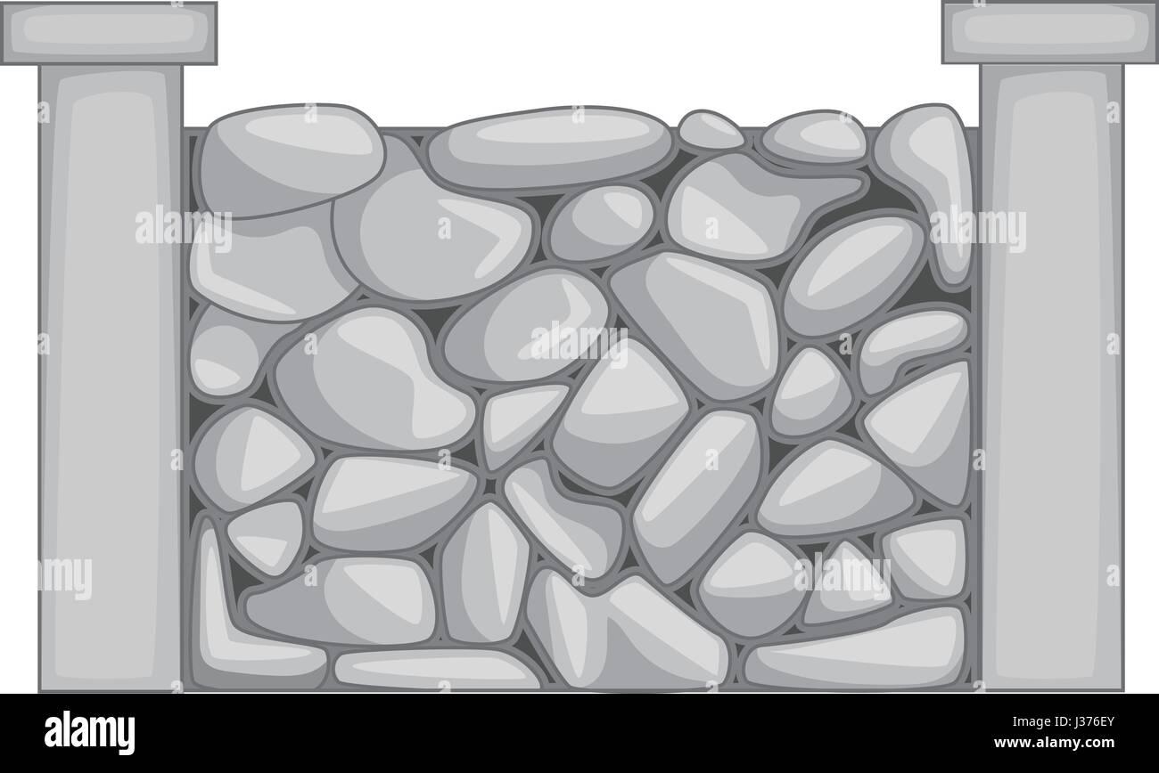 Stone fence icon monochrome - Stock Vector