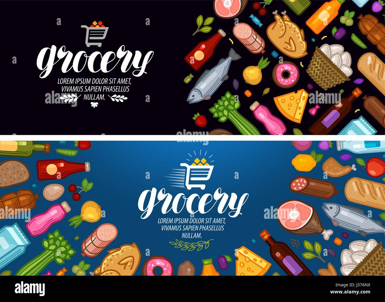 Grocery store, banner. Food and drinks label. Vector illustration - Stock Vector