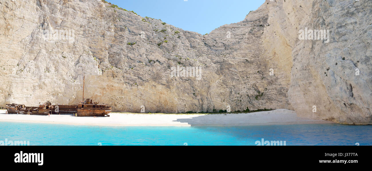 Panoramic view of famous Navagio beach in island Zakynthos , Greece Stock Photo