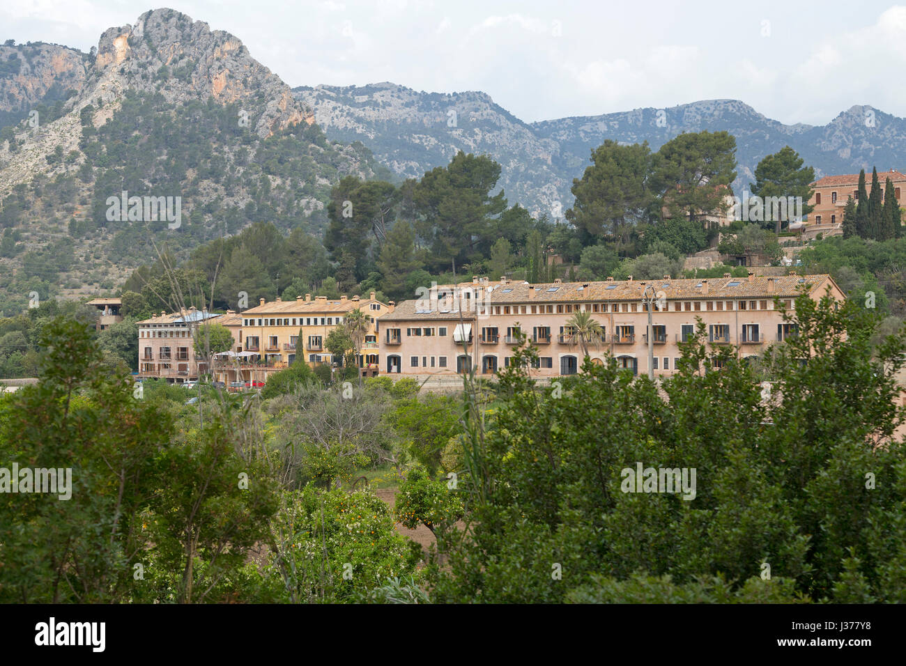 row of houses in Bunyola, Mallorca, Spain - Stock Image