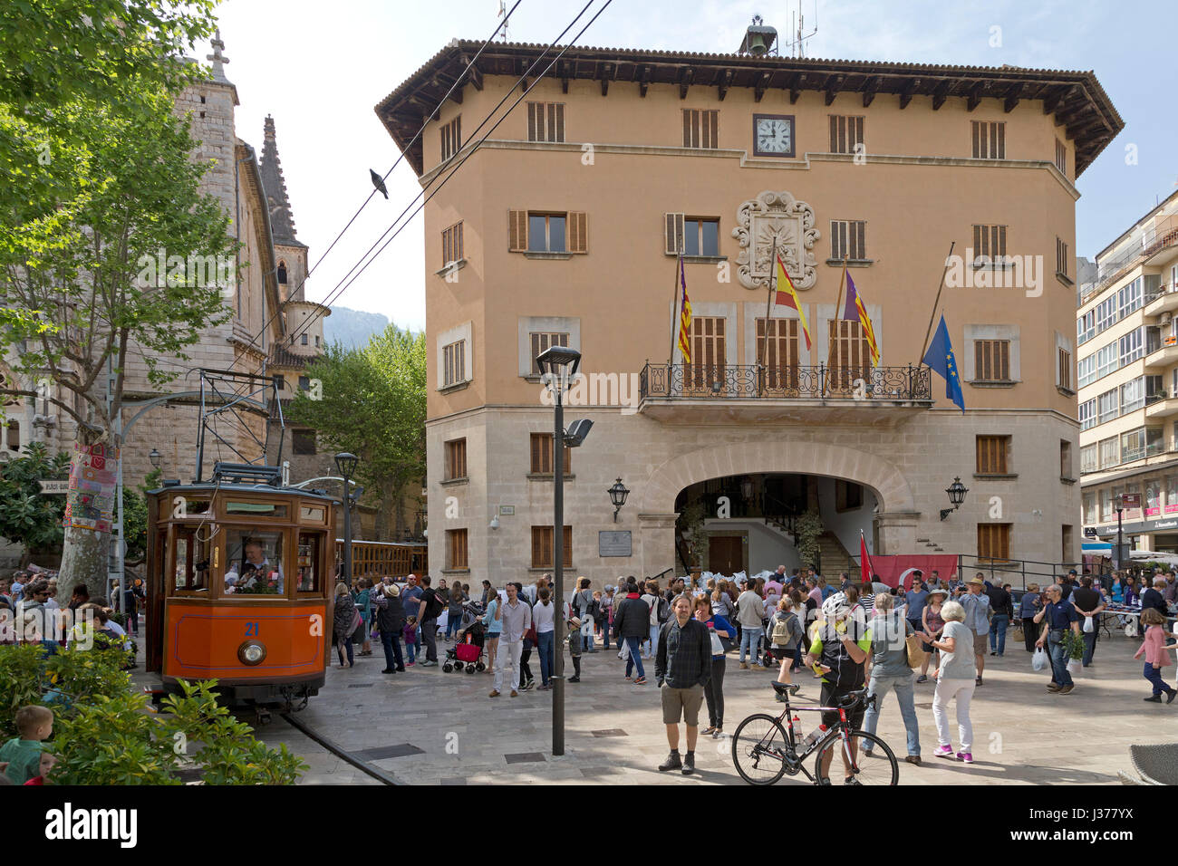 tramway in front of the town hall of Sóller, Mallorca, Spain - Stock Image