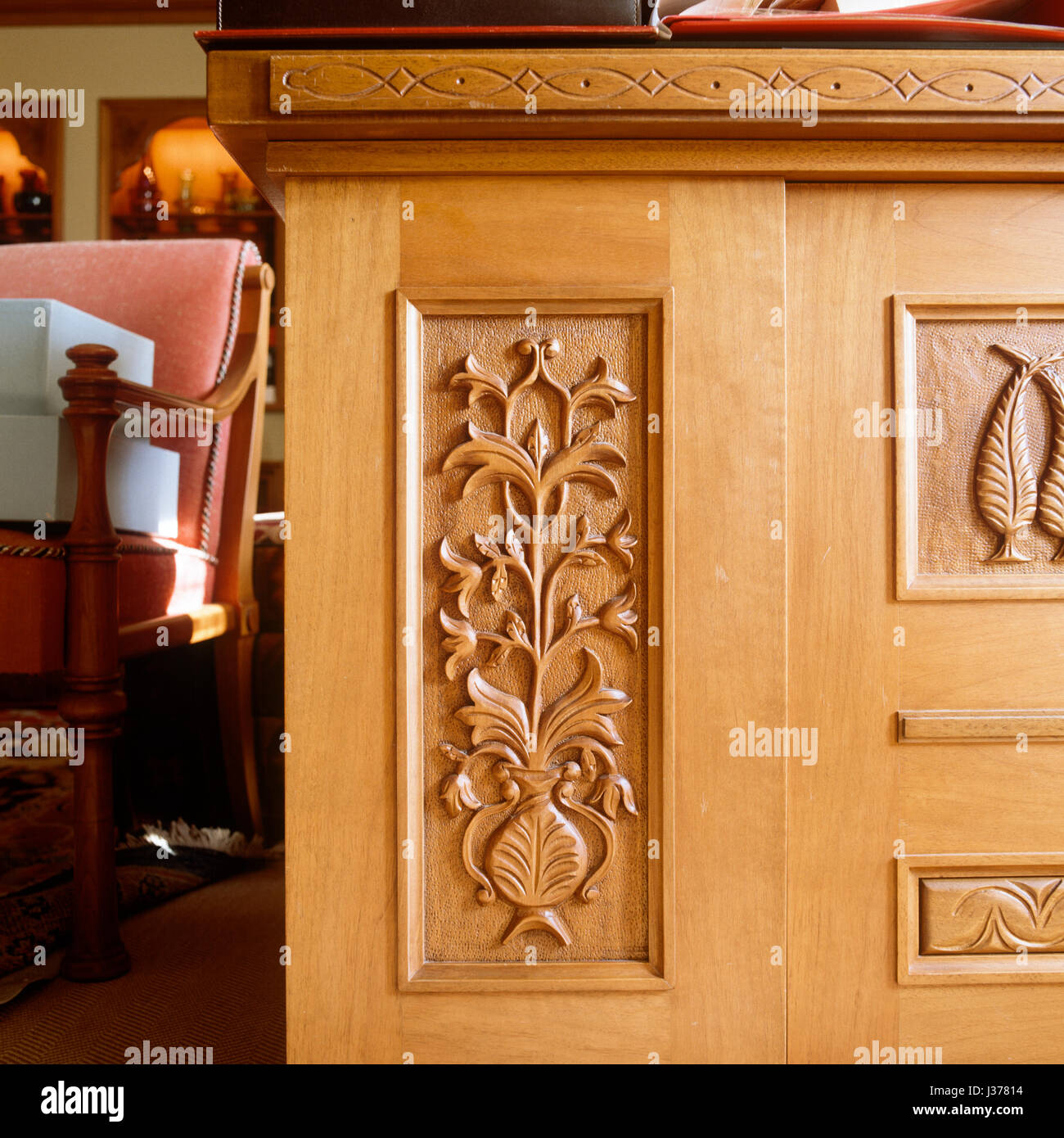 The Front Of Carved Wooden Desk.   Stock Image