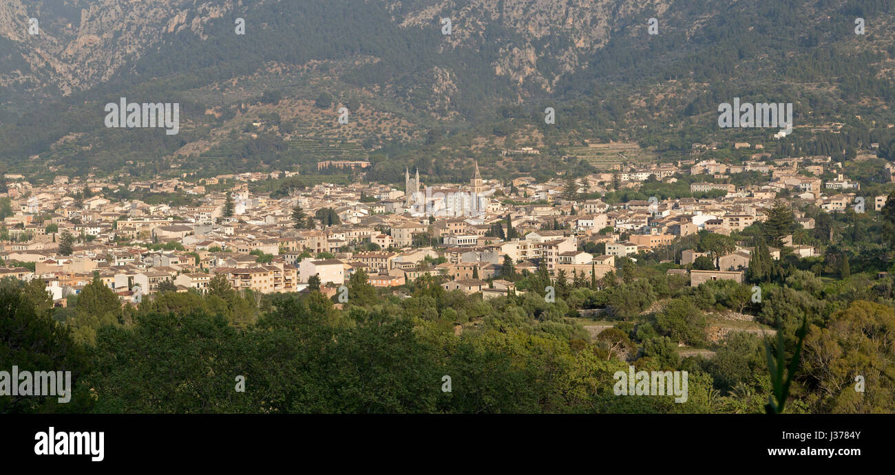 panoramic view of Sóller from the train, Mallorca, Spain - Stock Image