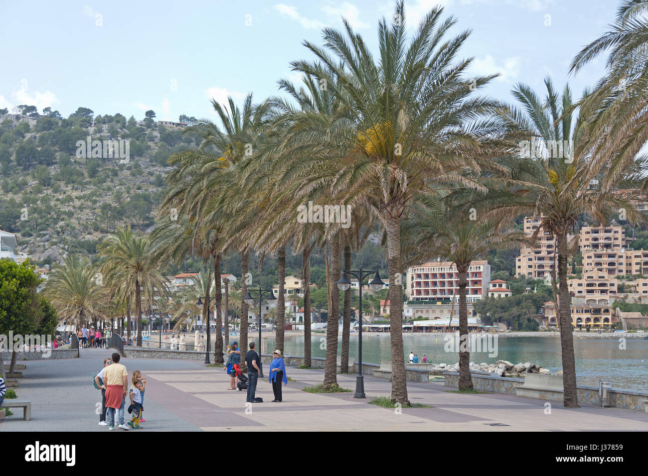 seafront in Port de Sóller, Mallorca, Spain - Stock Image
