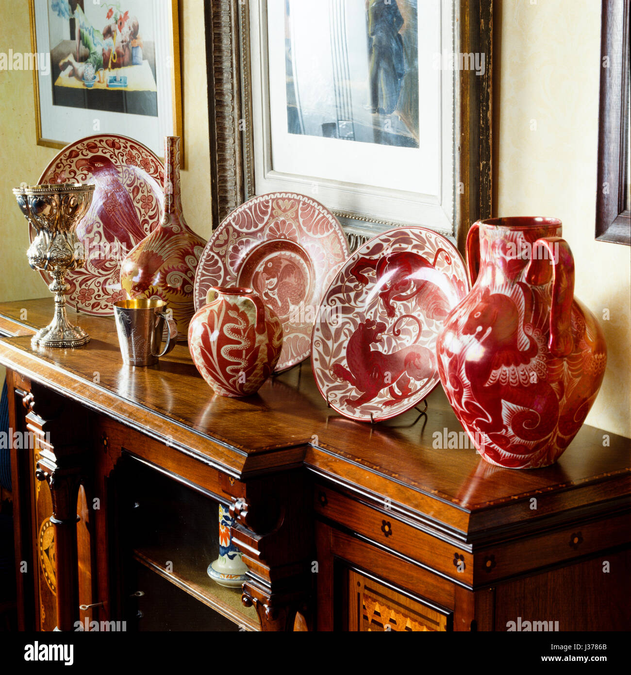Cabinet with plates and jugs. Stock Photo