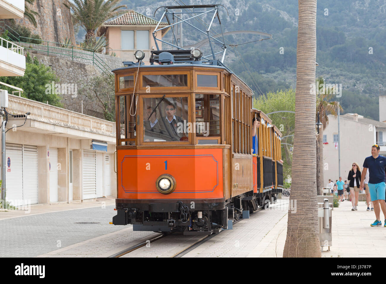 tramway in Port de Sóller, Mallorca, Spain - Stock Image