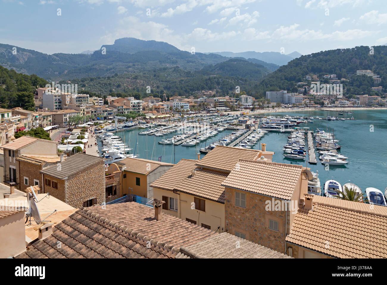 harbour of Port de Sóller, Mallorca, Spain Stock Photo
