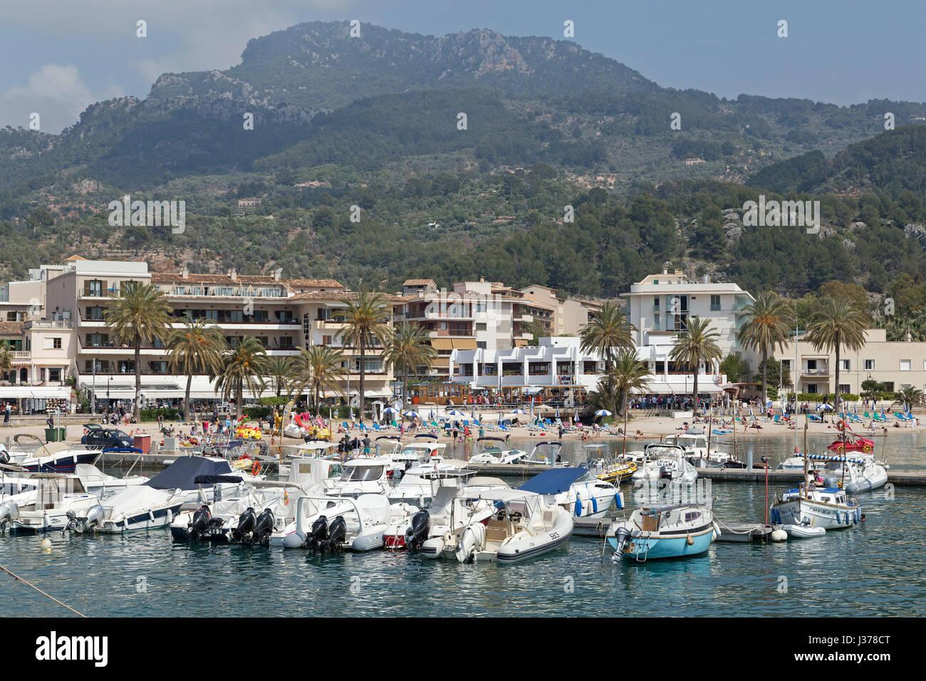 harbour of Port de Sóller, Mallorca, Spain - Stock Image