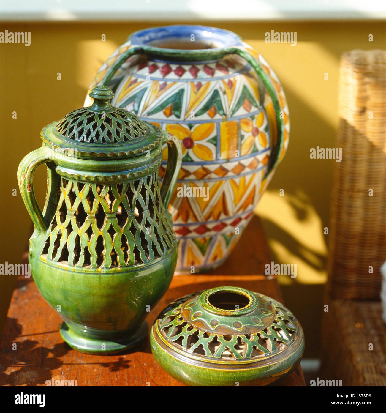 Three patterned vases. Stock Photo