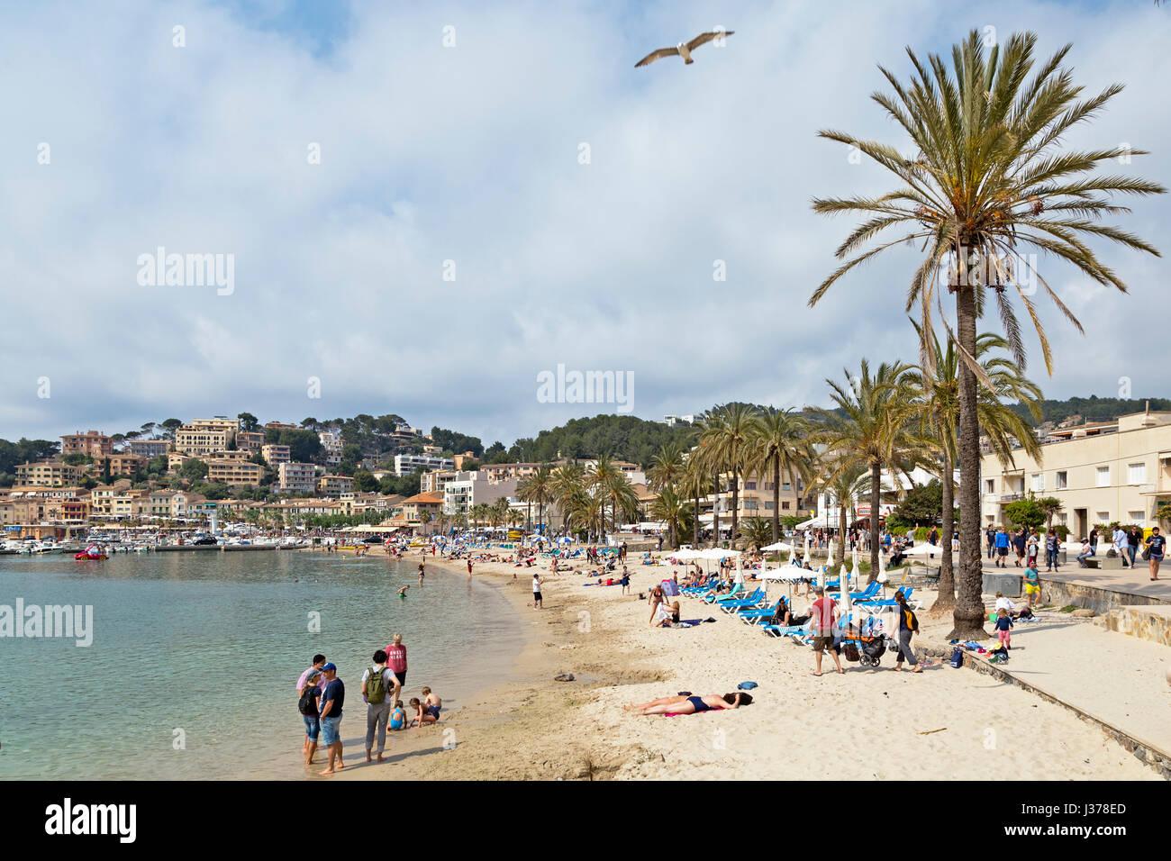 beach in Port de Sóller, Mallorca, Spain - Stock Image